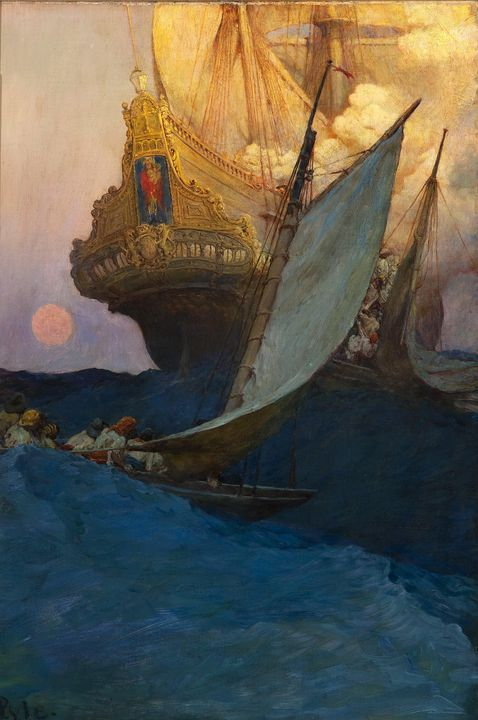 Howard Pyle~An Attack on a Galleon - Classical art