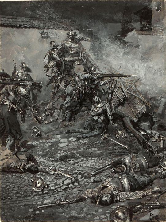 Howard Pyle~Drake's Attack upon San - Classical art