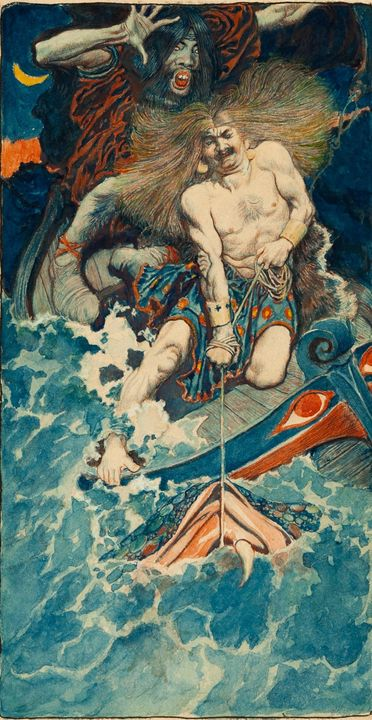 Howard Pyle~Study for The Fishing of - Classical art