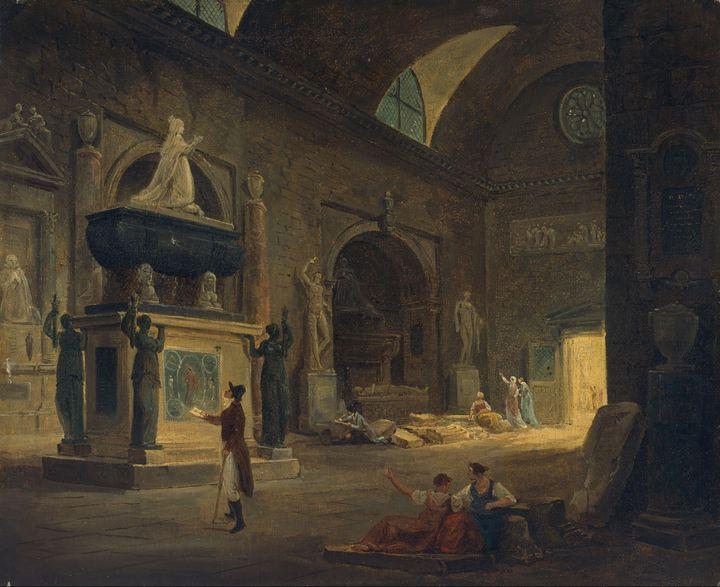 Hubert Robert~A Hall in the Museum o - Classical art