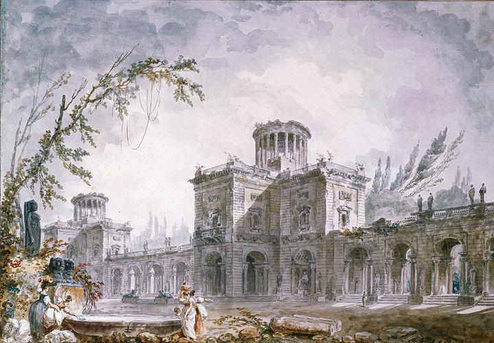 Hubert Robert~Architectural Fantasy, - Classical art