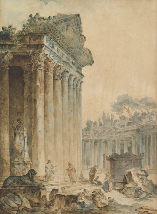 Hubert Robert~Capriccio with an Anci - Classical art