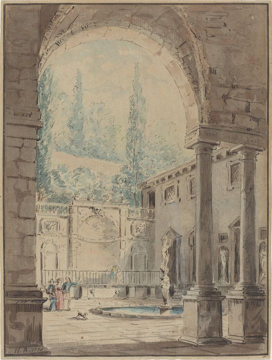 Hubert Robert~Courtyard of the Villa - Classical art