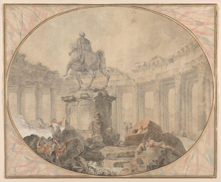 Hubert Robert~Equestrian Statue of M - Classical art