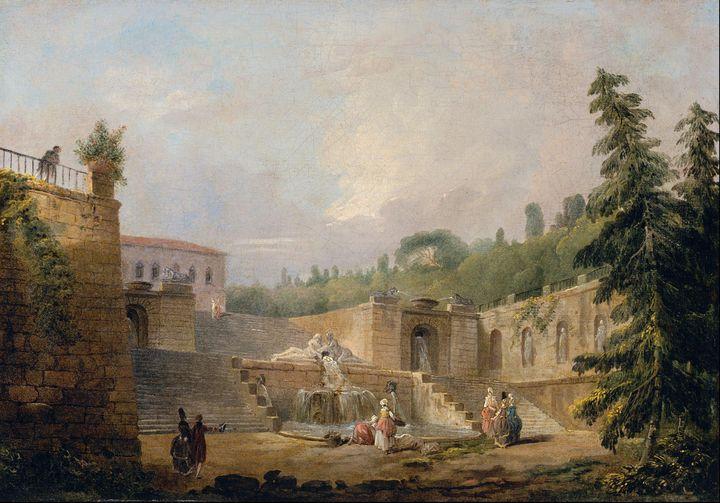 Hubert Robert~Fountain on a Palace T - Classical art