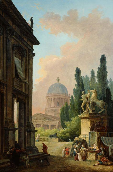 Hubert Robert~Imaginary View of Rome - Classical art