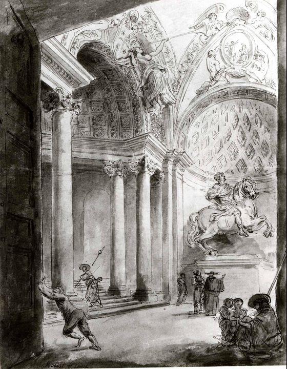 Hubert Robert~Interior of Saint Pete - Classical art