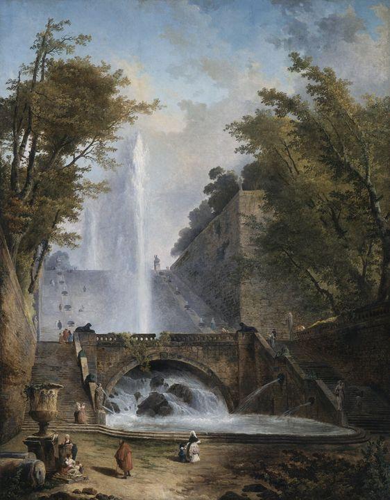 Hubert Robert~Stair and Fountain in - Classical art