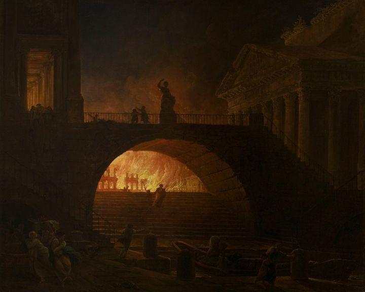 Hubert Robert~The Fire of Rome - Classical art