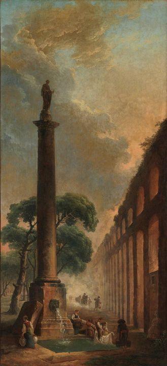 Hubert Robert~The Fountain - Classical art