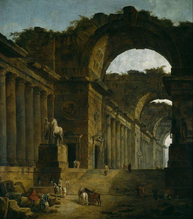 Hubert Robert~The Fountains - Classical art
