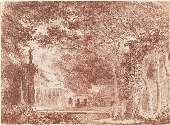 Hubert Robert~The Oval Fountain in t - Classical art