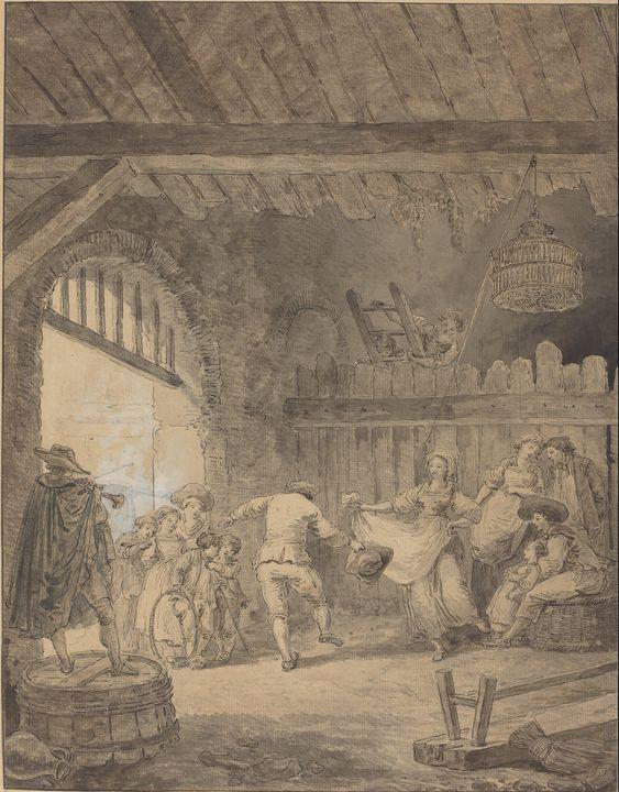 Hubert Robert~The Peasant Dance - Classical art