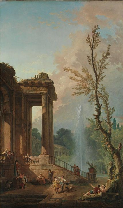Hubert Robert~The Portico of a Count - Classical art