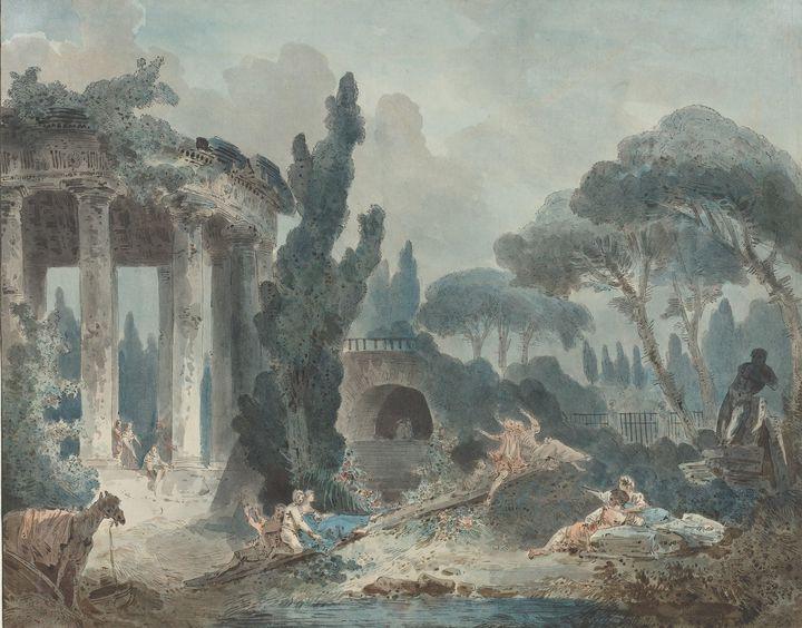 Hubert Robert~The Seesaw - Classical art