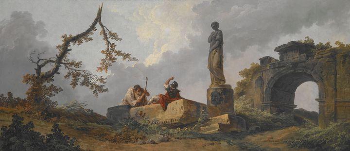 Hubert Robert~The Statue - Classical art