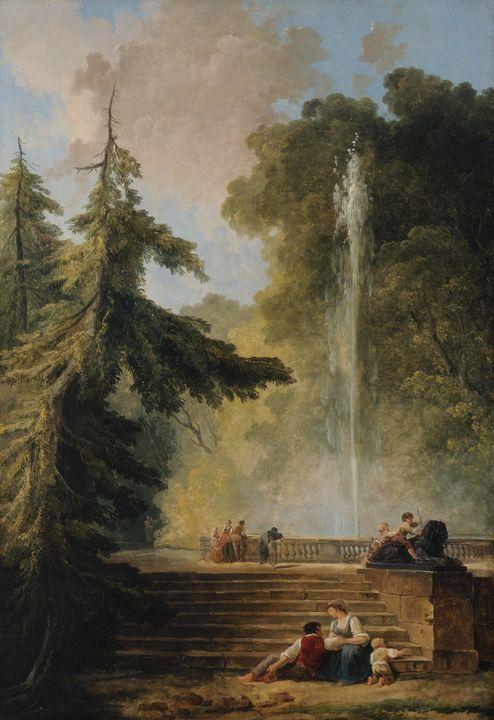Hubert Robert~The Water Jet - Classical art
