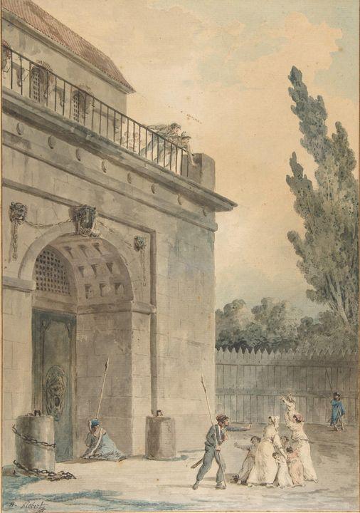 Hubert Robert~Visitors leaving a pri - Classical art