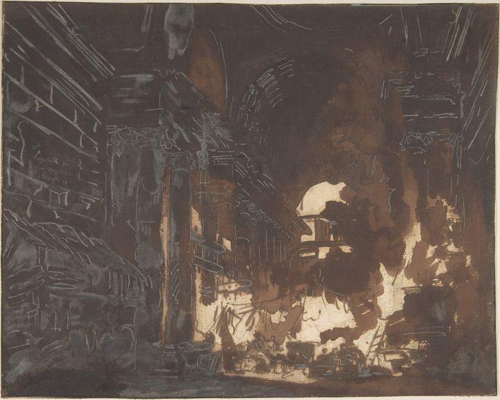 Hubert Robert~Washerwomen in a Ruine - Classical art