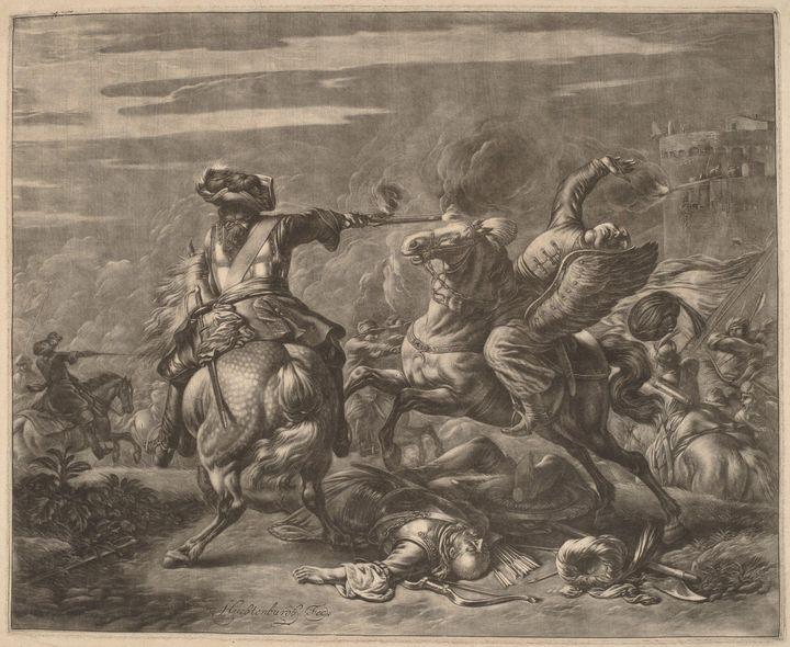 Huchtenburg~A Horseman Shooting a Tu - Classical art