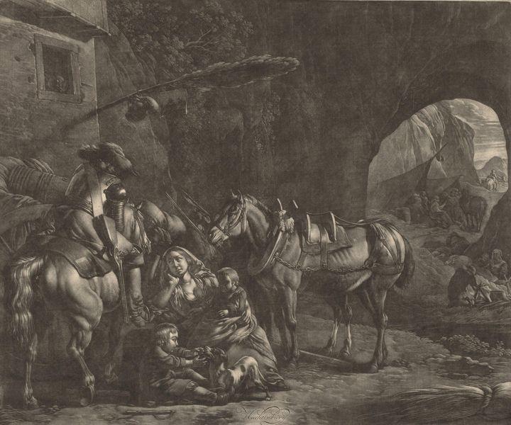 Huchtenburg~Mother with Two Children - Classical art