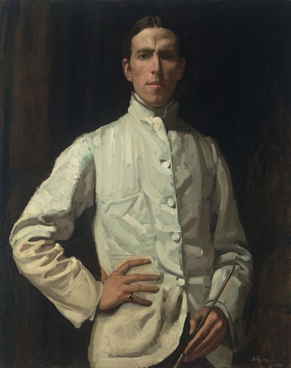 Hugh Ramsay~Self-portrait in white j - Classical art
