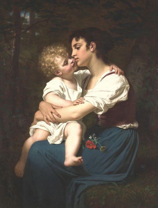 Hugues Merle~Maternal Love - Classical art