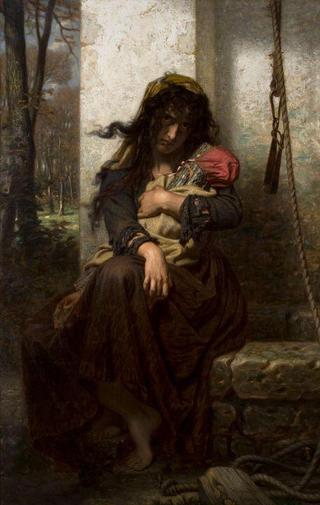 Hugues Merle~The Lunatic of Etretat - Classical art