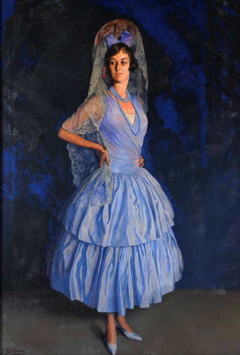Ignacio Zuloaga~Portrait of Lady Mic - Classical art