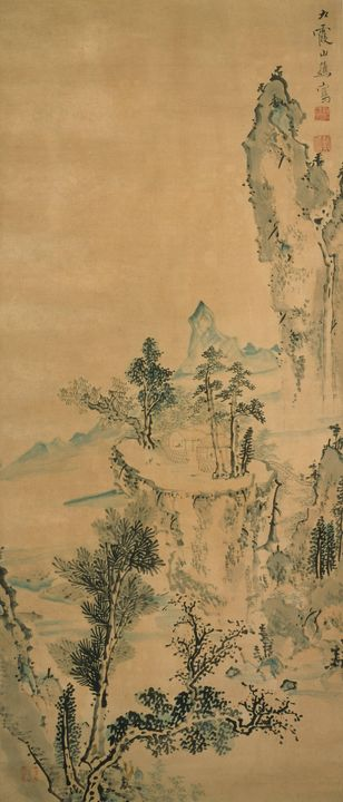 Ike no Taiga~Hermitage Above a Valle - Classical art