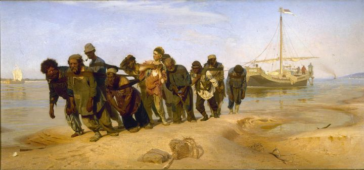 Ilya Repin~Barge Haulers on the Volg - Classical art