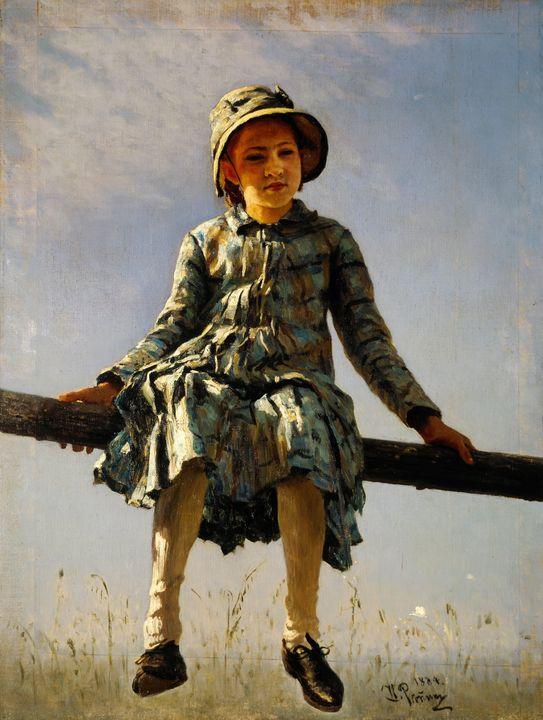 Ilya Repin~Dragonfly. Painter's daug - Classical art