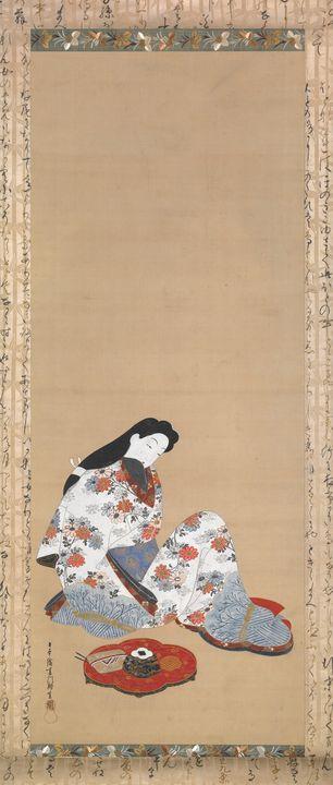 Hishikawa Moronobu~Courtesan in Reve - Classical art