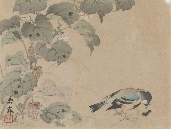 Imao Keinen~Bird And A Worm - Classical art