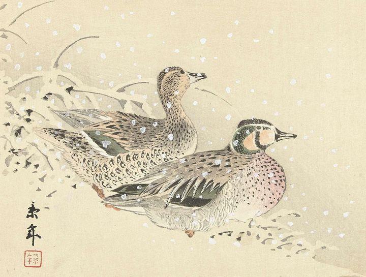 Imao Keinen~Koppel eenden in de snee - Classical art