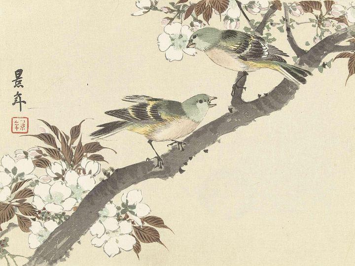 Imao Keinen~Twee groene vogels op bl - Classical art