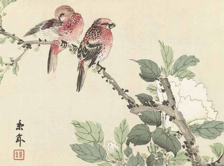 Imao Keinen~Twee rode vogels op tak - Classical art