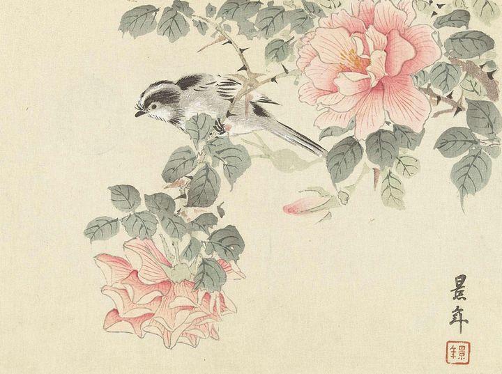 Imao Keinen~Zwart-wit vogeltje tusse - Classical art
