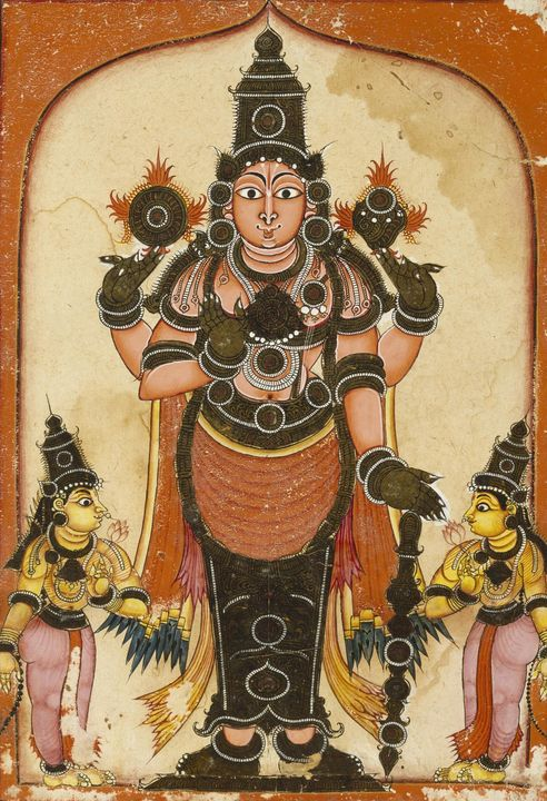 Indian~Lord Vishnu with Two Consorts - Classical art