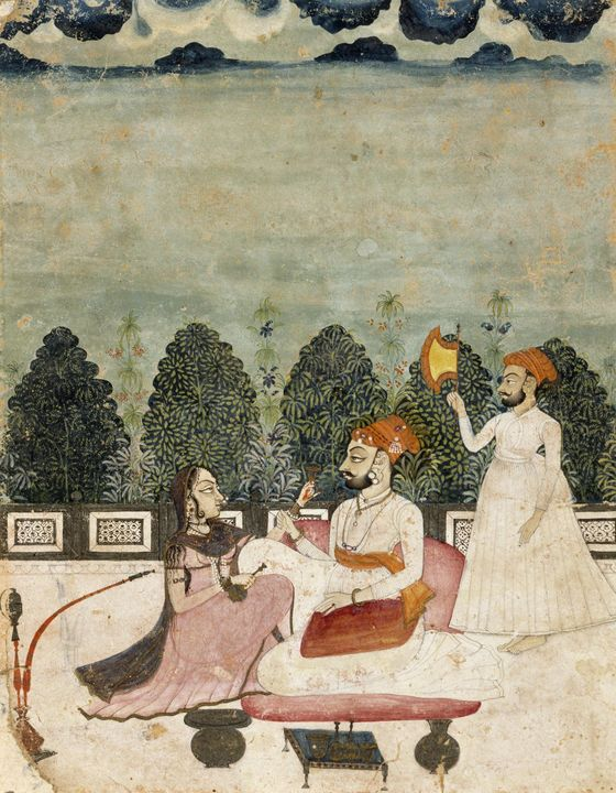 Indo-Persian~Untitled (Two Men and W - Classical art