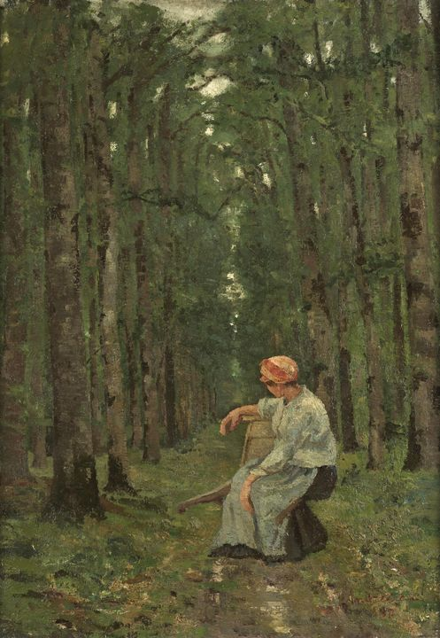 Ion Andreescu~Woman in the Wood - Classical art