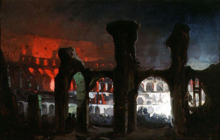 Ippolito Caffi~Fireworks inside the - Classical art