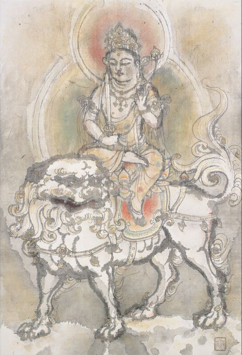 Irie Hakō~Manjushri on Lion - Classical art
