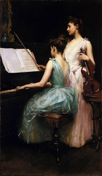 Irving Ramsey Wiles~The Sonata - Classical art
