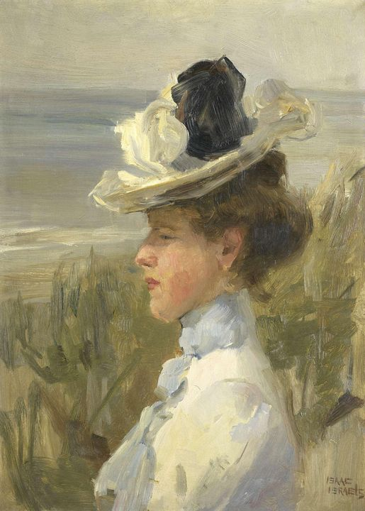 Isaac Israëls~A Young Woman looking - Classical art