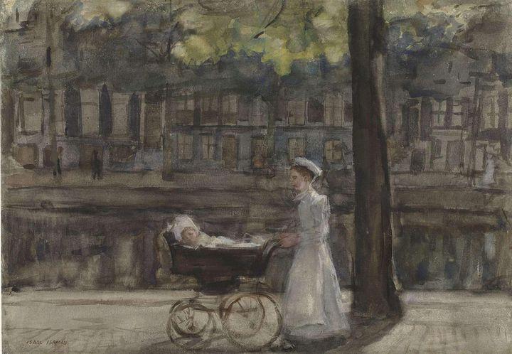 Isaac Israëls~Dienstmeisje met kinde - Classical art