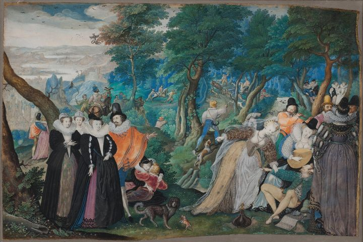 Isaac Oliver~A Party in the Open Air - Classical art
