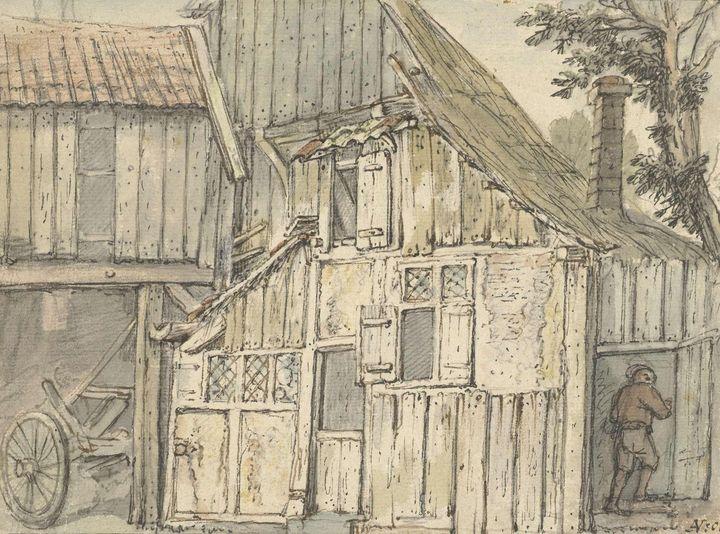 Isaac van Ostade~Gevel van een boerd - Classical art