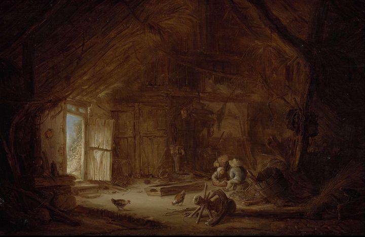 Isaac van Ostade~Interior of a Stabl - Classical art