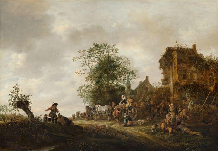 Isaac van Ostade~Travellers outside - Classical art